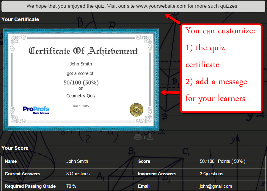 Customize quiz Certificate