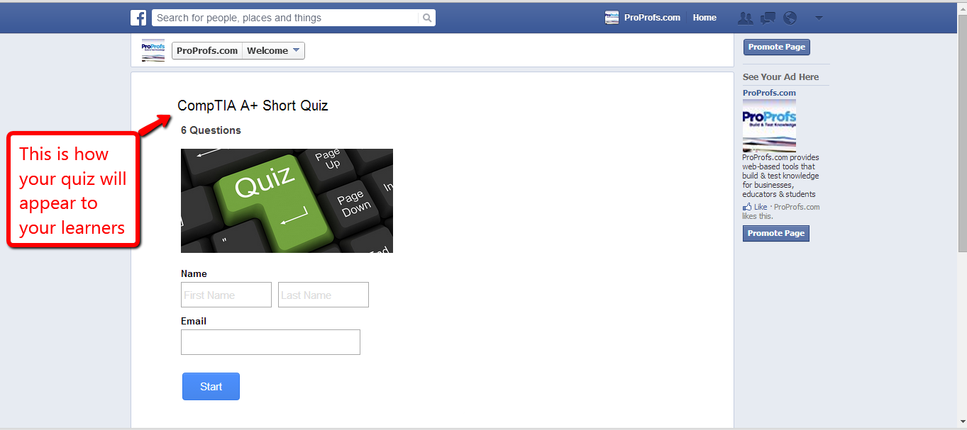 Embed Quiz on Facebook