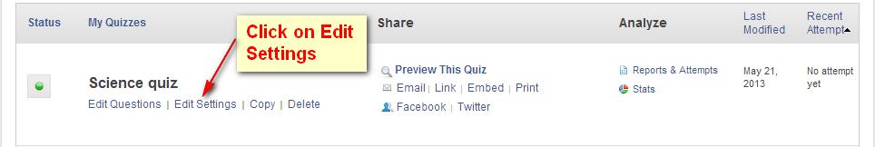 Edit Settings ProProfs Quiz Maker
