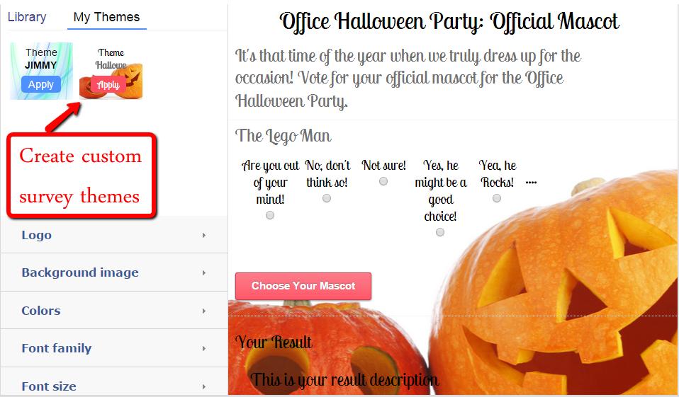 Create custom survey themes