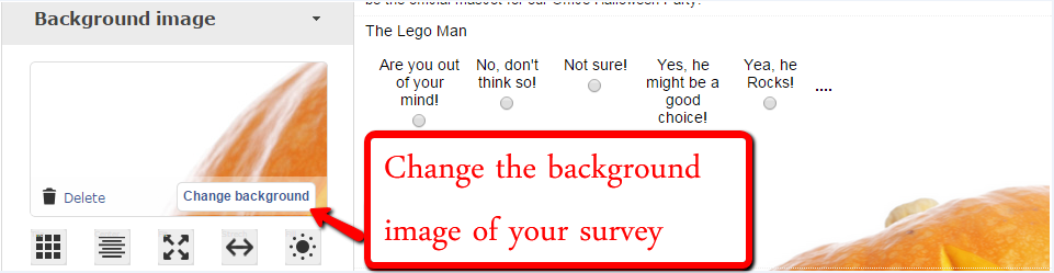 change the background image of your survey