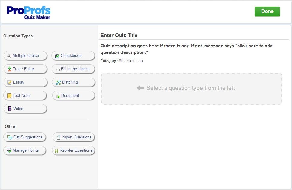 ProProfs Quiz Maker full screenshot