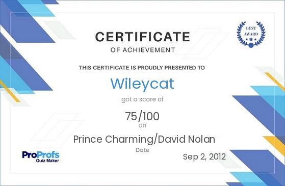 Prince Charming/David Certificate