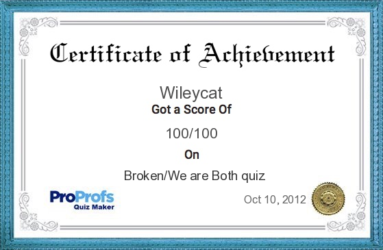Broken/We are Both Certificate