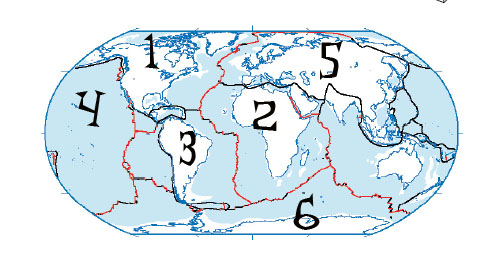 Tectonic Plates ProProfs Quiz - Plates map