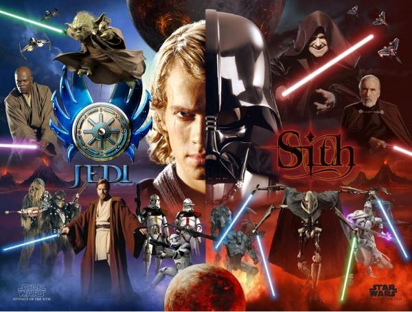 Has come to decide what side you are on jedi or sith have fun