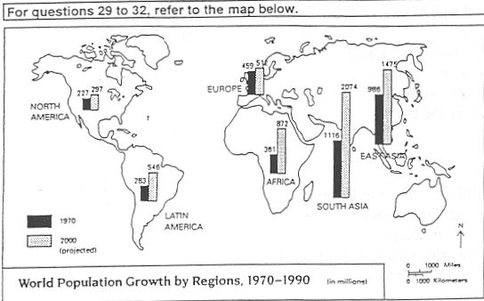 The Most Heavily Populated Region Of The World In 1970 Was