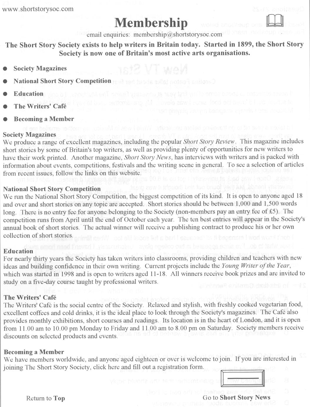 preliminary english test paper 1 reading writing quiz 20 children from anywhere in the world are able to become members of the society