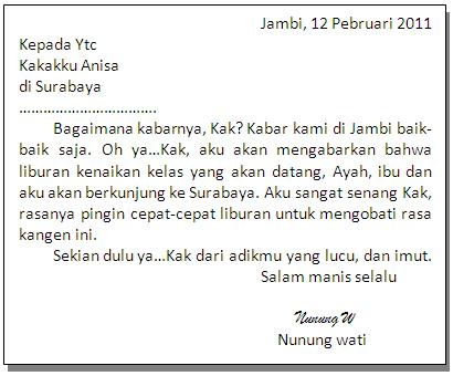 Surat di atas adalah a salam rindu buat kakakku tercinta b hai kak