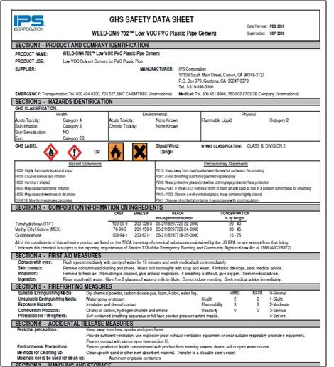 Answer the questions using the Safety Data Sheet below -