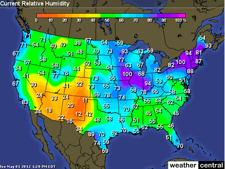 Relative Humidity And Dew Point ProProfs Quiz - Humidity map