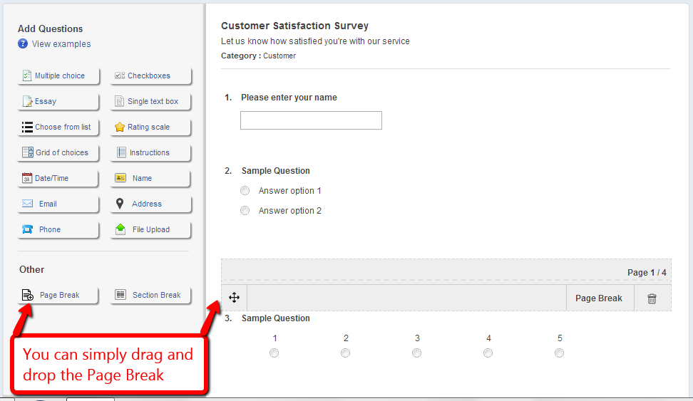 Drag and Drop Feature of ProProfs Survey Maker
