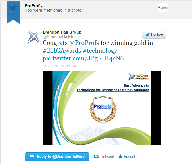 ProProfs Wins Gold in Brandon Hall Awards