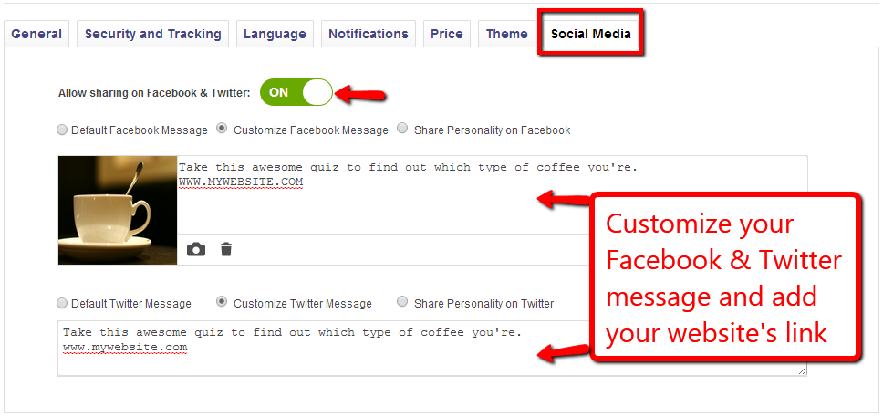 Customize social edia shares