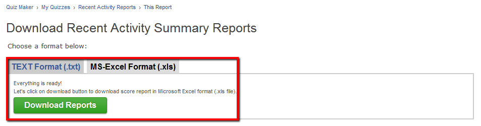 Download Summary reports for all quizzes