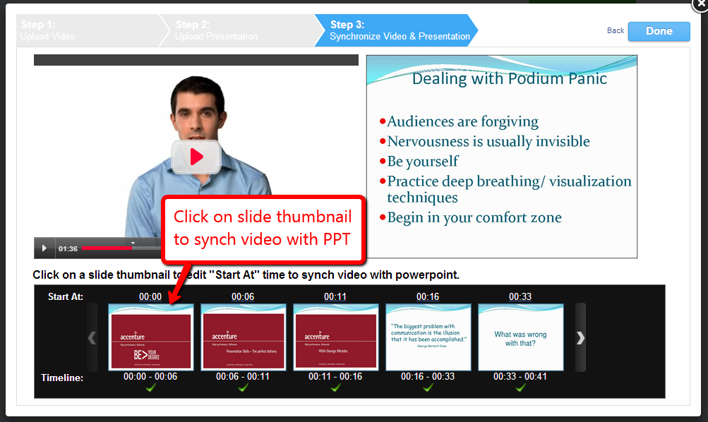 Synchronize video with PPT