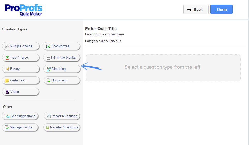 ProProfs Quiz Maker Interface