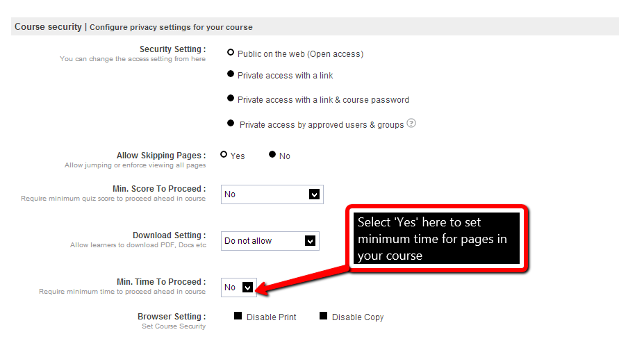 Configure Privacy Setting for your Course