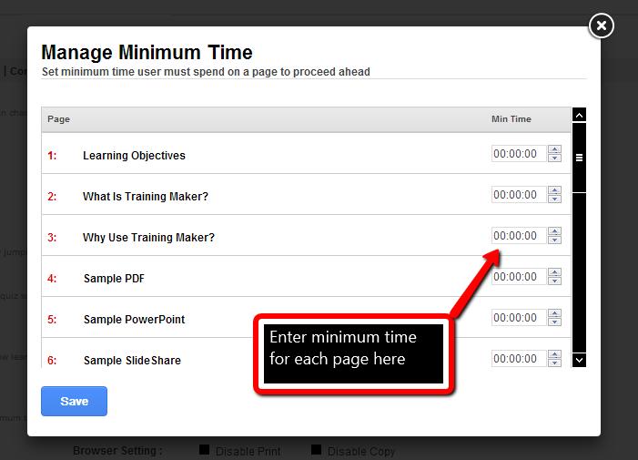 Set Minimum Time in ProProfs Training Maker