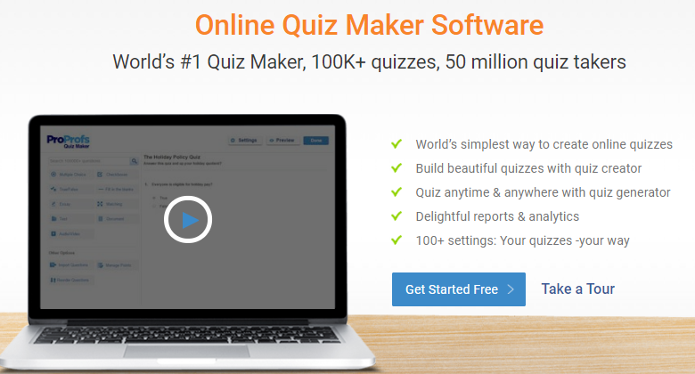 Make a list of features with quiz authoring software