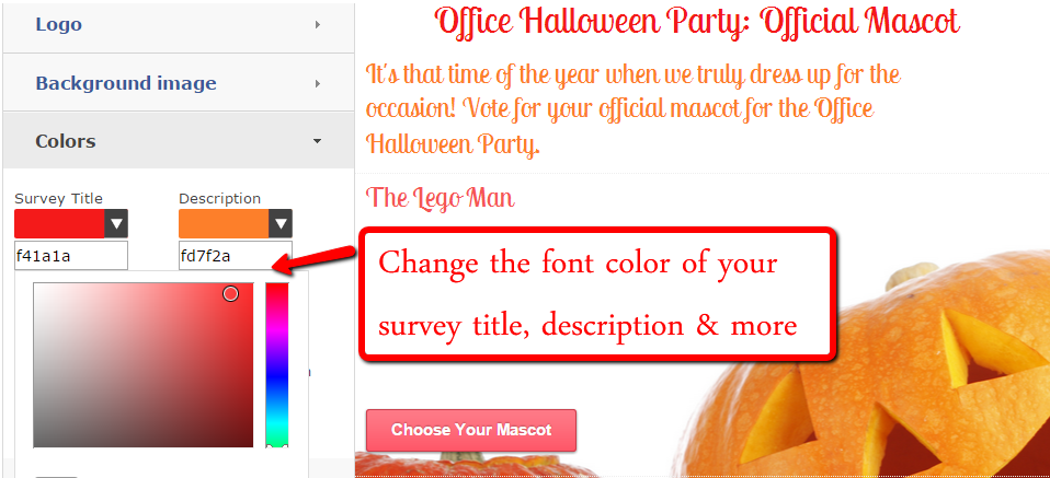 Change the font color of your survey