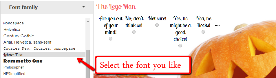 Change the font of your survey