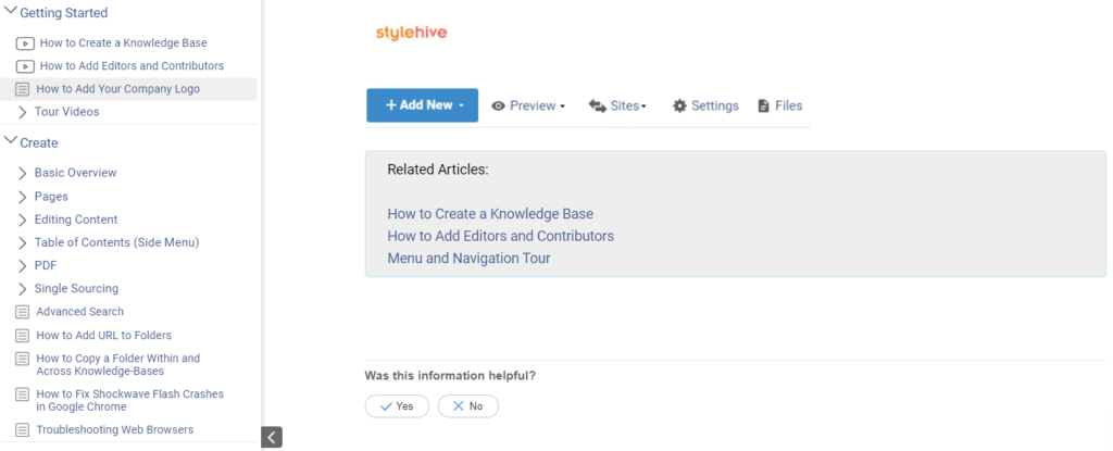 knowledge base article feedback