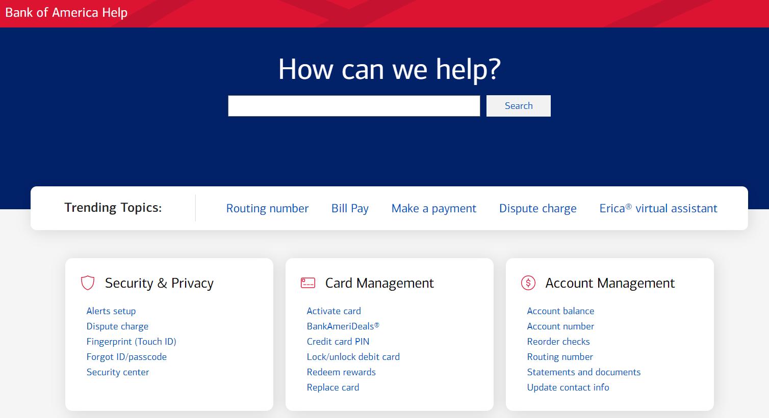 Bank Of America Help FAQ section