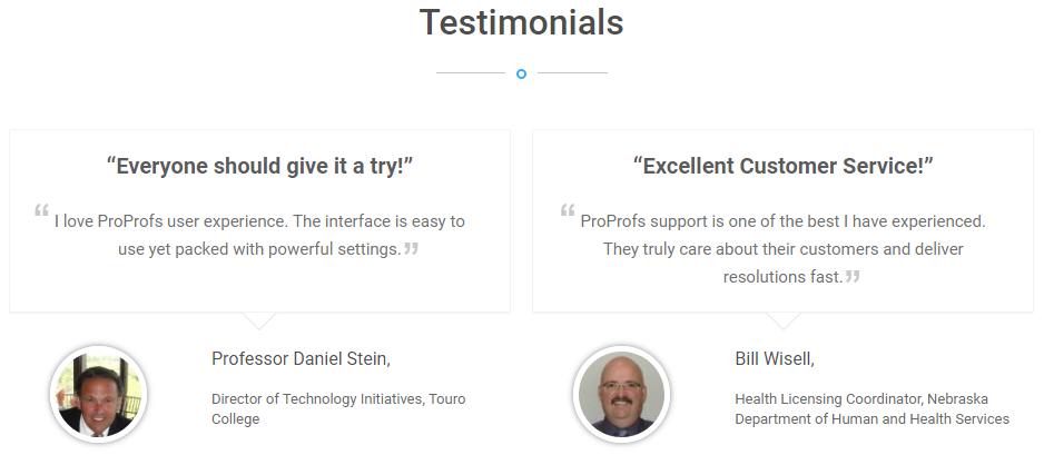 proprofs knowlege base testimonials