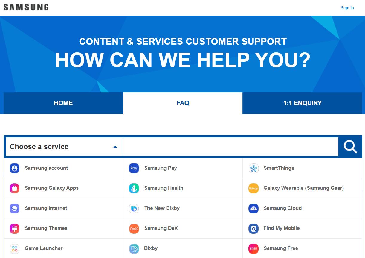 Samsung FAQ section