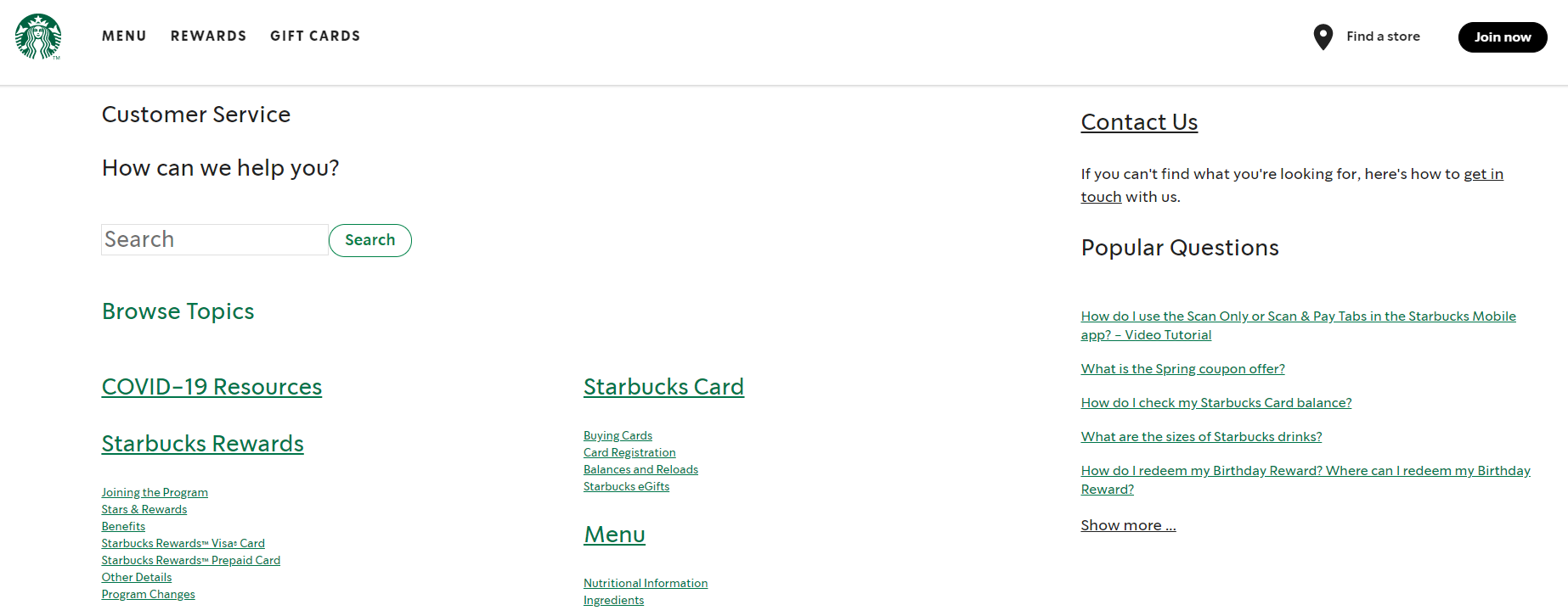 Starbucks' well-crafted FAQ section