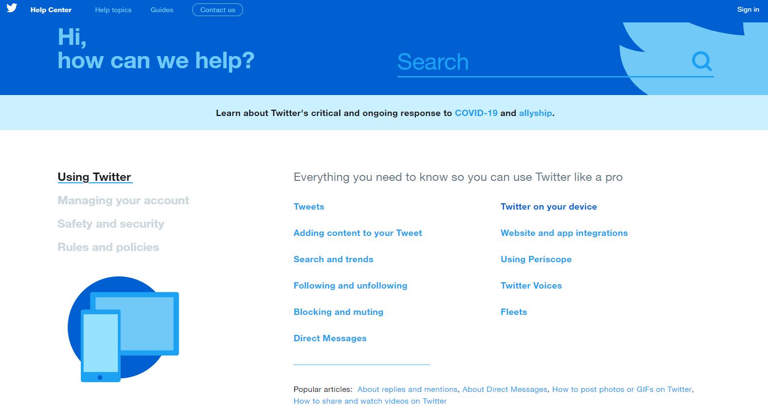 Twitter FAQ section