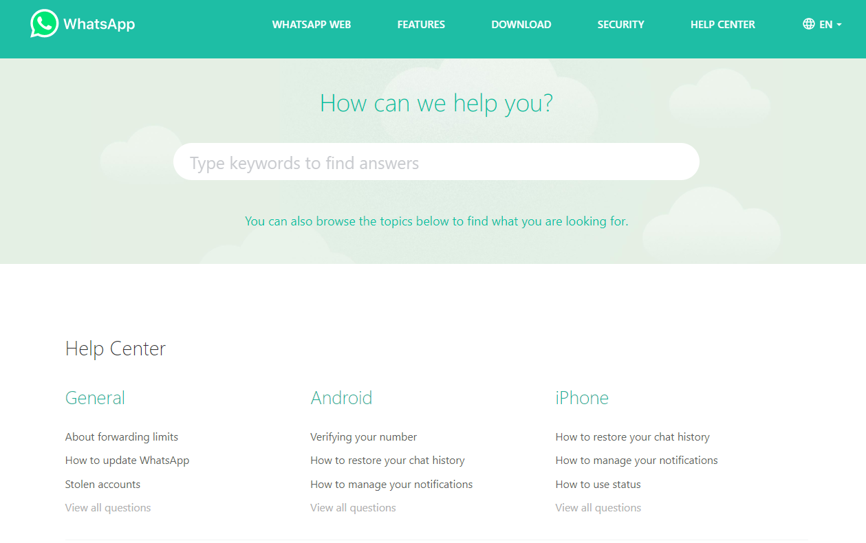 WhatsApp's optimize FAQ section