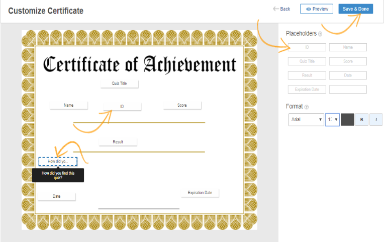 Customize Certificate