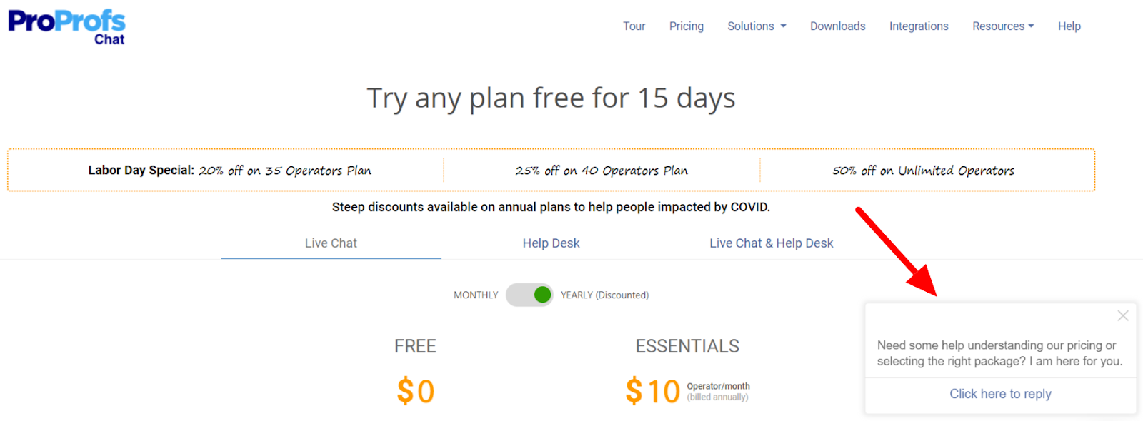 live chat pricing page help