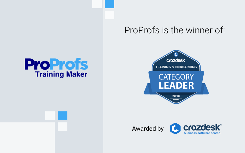 proprofs-training-maker-bags-category-leader-award-at-crozdesk