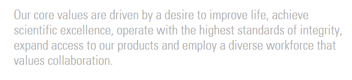 note how pharma giant Merck lists collaboration as one of its key values.