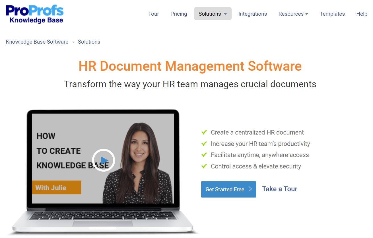 ProProfs HR document management software