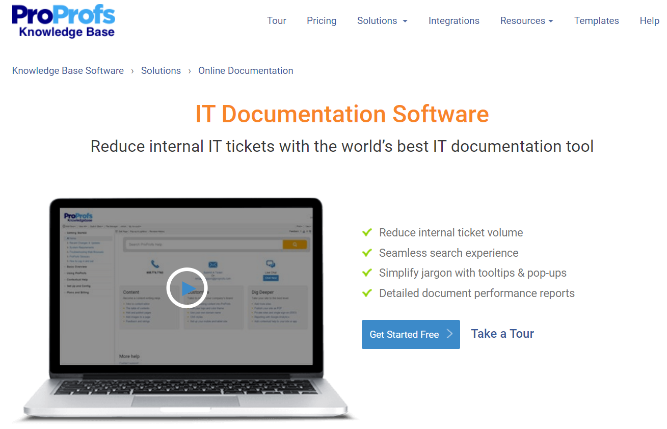 ProProfs IT Documentation software