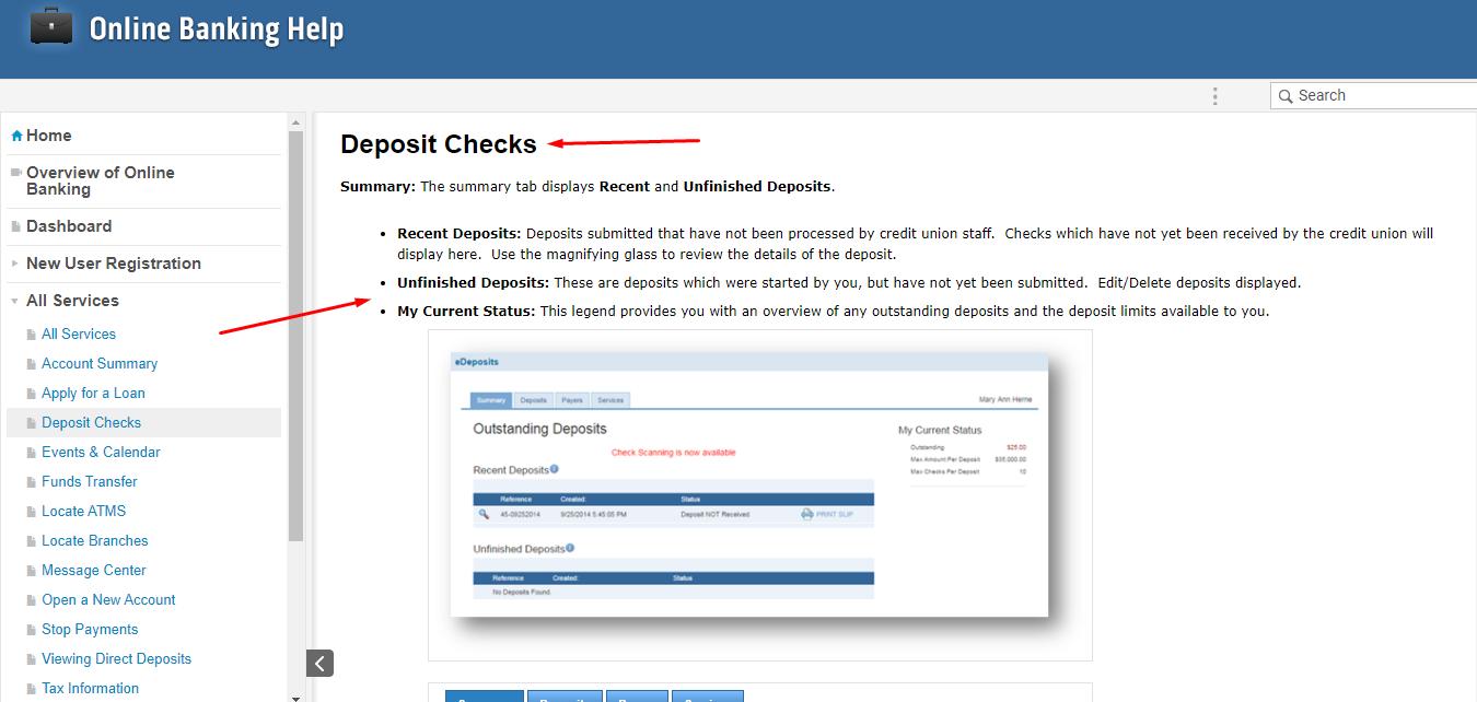 online banking user documentation