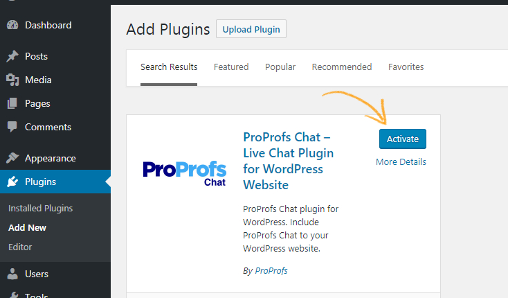 Activate live chat for WordPress to proceed