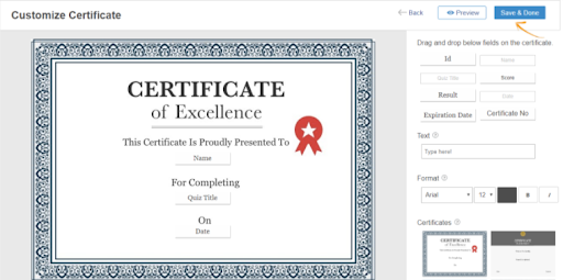 customize quiz completion certificates