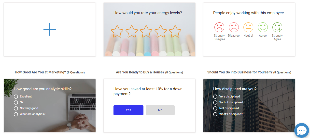 Select a Ready Template - Scored Survey