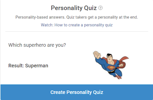 Click on Create Personality Quiz