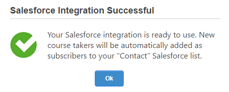 Salesforce Integration Successful
