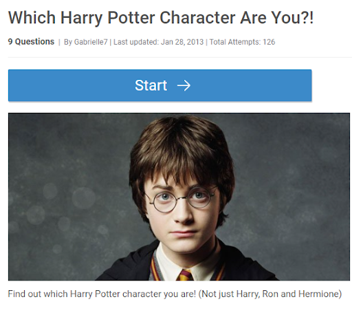 """Which Character Are You"""" Quizzes"""