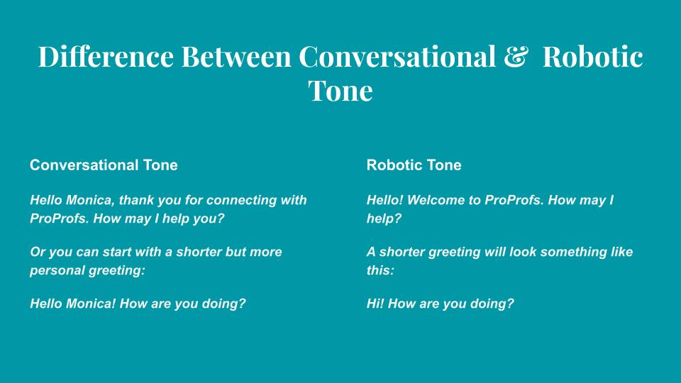 Conversational and Robotic Tone for chat best Practices