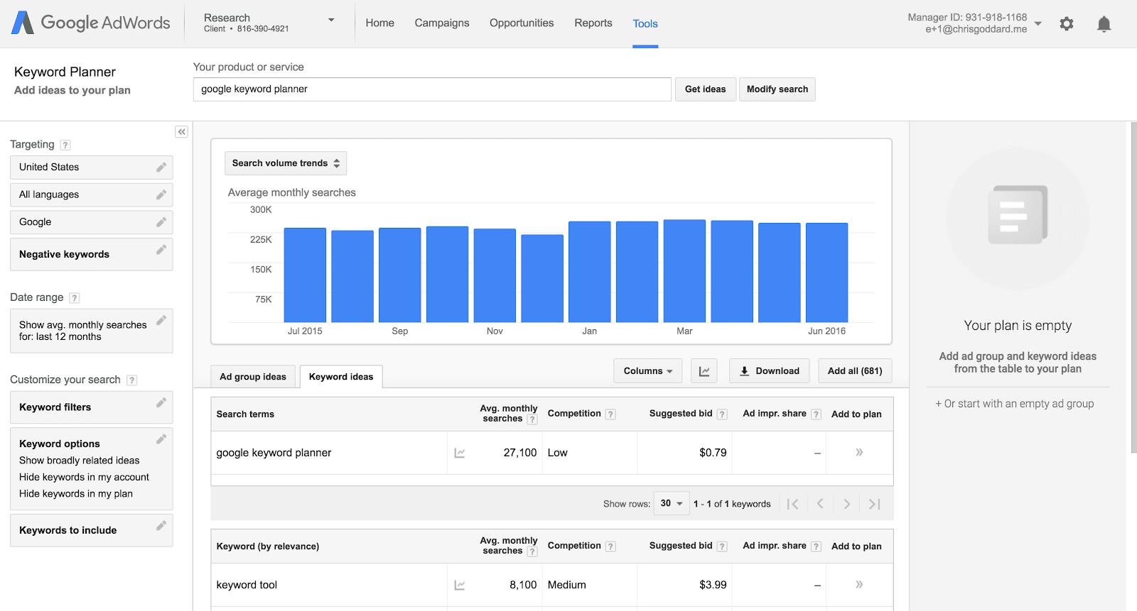 google keyword planner for knowledge base