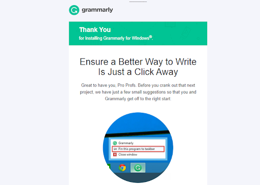 grammarly welcome message