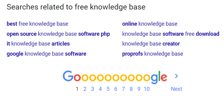 Google knowledge base search engine results